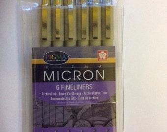 6pk Micron pen set