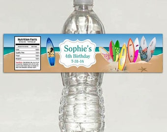 Printable Personalized Surf Water Bottle Labels birthday party