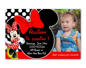 Red Minnie Mouse Birthday Party Invitation - Printable or Printed