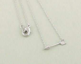 Silver arrow pendant necklace