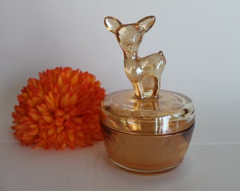 Jeannette Glass Co Carnival Glass Fawn Powder Jar with Lid in Iridescent Marigold 1950's