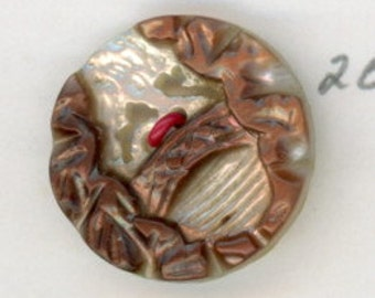 Carved Mother of Pearl Button ,