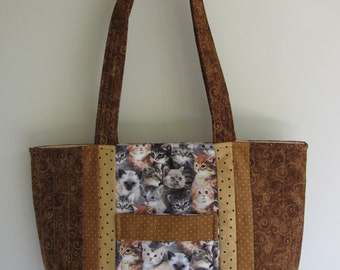 Quilted Tote Bag with Cats