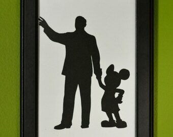 Walt Disney and Mickey Mouse Hand-Cut Paper Silhouette Portrait