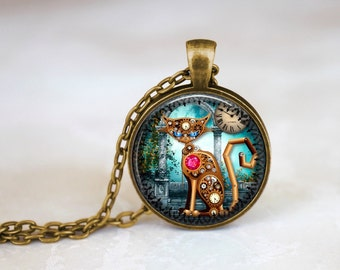 Steampunk Cat Handmade Pendant Necklace