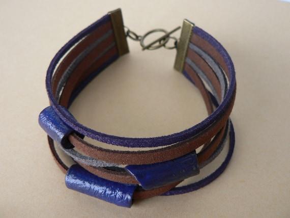 Bracelet multirangs perles fait main en fimo bleues - Bracelet original fait main ...