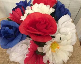 Handcrafted Patriotic Flower Pen Bouquet Red White & Blue You Choose Quantity Blue Or Black Ink
