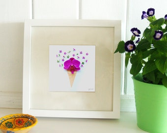 Orchid Ice Cream Cone -Wall Print-