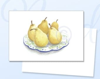 Pears Greeting Card, Friendship card, Birthday card, Thinking of You, Pear, Watercolour card, Watercolour, Still Life, Yellow Pears, Friend