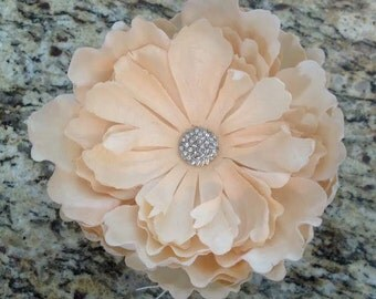 Cream Flower Hair Clip with Rhinestone