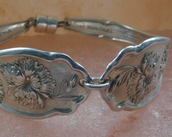 Vintage Spoon Bracelet 1908 Carnation Silverware Bracelet Vintage Bracelet Spoon Handles--193