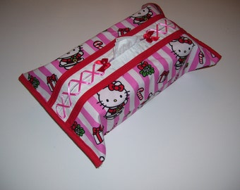 CHRISTMAS TISSUE BOX cover, hello kitty pattern, with a pink corset.