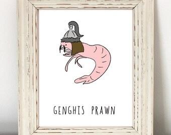 Shrimp, Funny Animal Print, Instant Download, nerdy animal print, nerd art, nerdy, cute, Genghis Khan, historical, history teacher gift