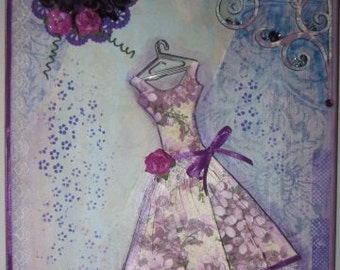 """Vintage Dress Mixed Media Collage - 8"""" x 10"""""""