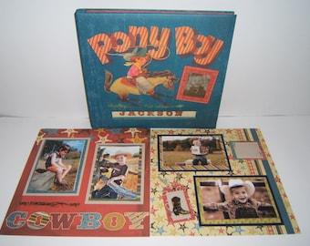 Cowboy Scrapbook Album - Ranch Scrapbook Album - Texas Scrapbook Album - 12 by 12 premade scrapbook album - cowboy birthday party album