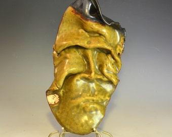 Sour Grapes - glazed ceramic mask