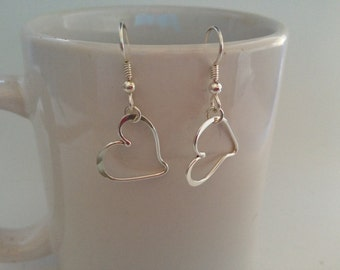 Sterling Silver dainty  forged hearts dangle earring.
