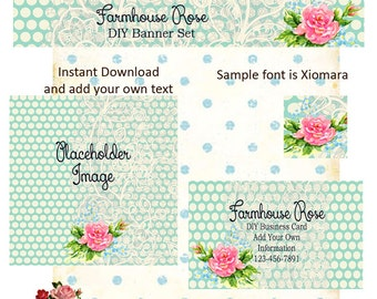 Updated Blue Lace 5 Piece DIY Shop Banner Avatar and Business Card Graphics Set Instant Download
