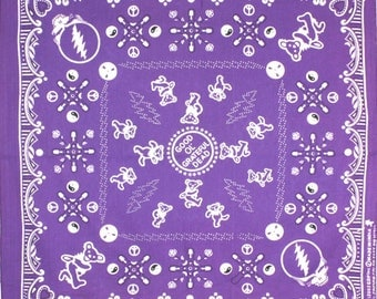 BANDANA - Bandanna. Cotton Bandana. Good Ol' GRATEFUL Dead Bandana. PURPLE. sj