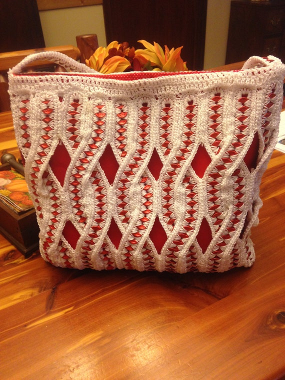 Crocheting With Pop Tabs : Items similar to Crochet Budweiser Pop Tab Handbag/Purse on Etsy