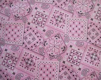 Soft Pink Bandana cotton fabric by the yard