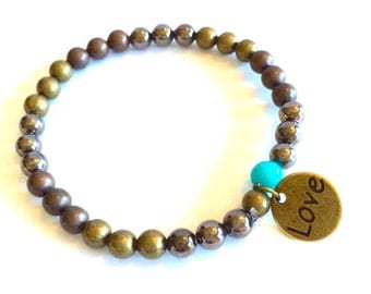Burnished Metal Bead Bracelets with Love Charm and Turquoise Accent