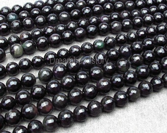 Faceted Obsidian Beads, 128 Facets Black Obsidian Faceted Beads, 8 10 12 14 16mm Faceted Gemstone Beads Strand, DIY Black Beads Supplies
