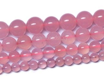 Pink Agate Beads, Round Pink Agate Stone Beads, 4mm 10mm 12mm Pink Semi-precious Stone Beads,  Pink Beads for DIY Handmade Jewelry Making