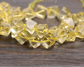 Citrine Cube Beads, Center Drilled Yellow Crystal Beads, Transparent Crystal Beads for Jewelry Making, Synthetic Citrine Gemstone Beads