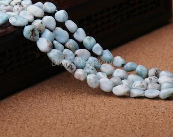 Larimar Beads, Natural Sky Blue Larimar Nuggets, Irregular Gemstone Pebble Beads, Rare Larimar Jewelry Beads (Y234)