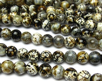 Leopard Animal Print Beads, Leopard Agate Jewelry Beads, One Full Strand, Smooth Round 10mm Agate Gemstone Beads (B26)