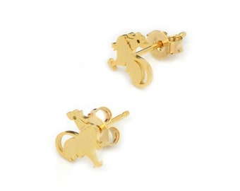 Chicken and Rooster Brass Stud Earrings (Minimalist Geometric Genuine Gold Plated Jewelry, BN116-E)