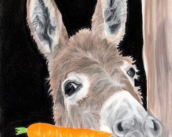 Donkey Art Print, Carrot Art, Donkey Decor - Fine Art Giclee Print of an Original Pawstel