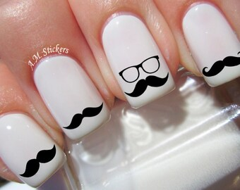 52 Black Moustache Nail Decals