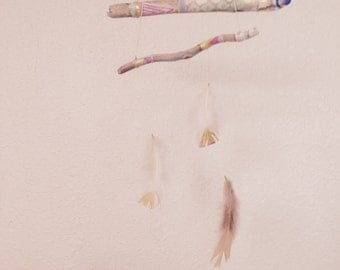 Handmade feather baby mobile