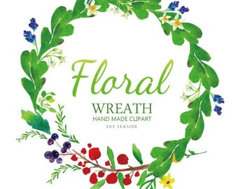 17 floral watercolor clip art , wreath , patterns,digital download