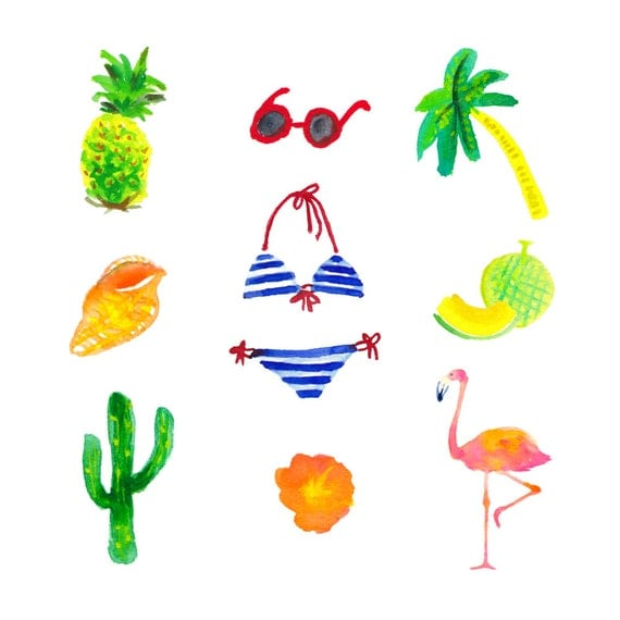 28 lovely summer stuff watercolor clip art wall art