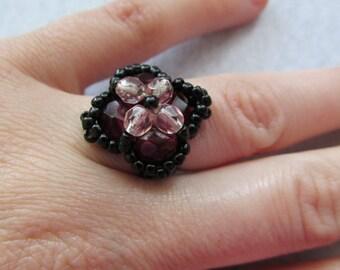 Handmade red&black pearl beaded ring