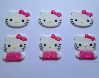 12 fondant Hello Kitty toppers