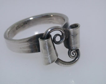 Sterling Silver Ring - Hand Forged W/Tapered Scroll - Size 6 1/2