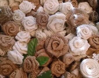 50 Burlap Roses