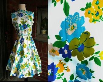 Vintage 60's L'Aiglon Blue Yellow Floral Print Full Skirt Dress XS S