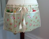 Oilcloth or Cotton Gardeners apron gardening apron garden teachers apron wipe clean apron craft apron artist apron half waist apron