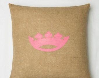 20x20 Natural Burlap Pillow Pink Crown