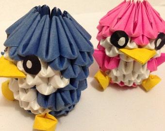 Cute, small 3D origami penguin/bird