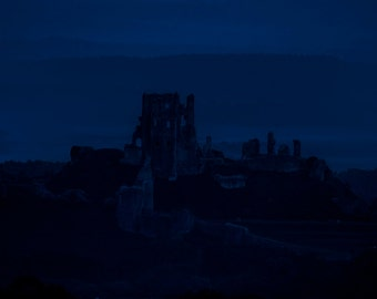 "A dark and eerie Fine Art Photographic Giclée Print Of Corfe Castle at Twilight. ""Twilight over Corfes Corpse."""