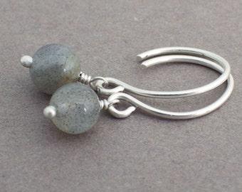 Simple Labradorite Drop Earrings -- Sterling Silver Minimalist Earrings