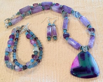 Colorful Agate Pendant Necklace Set with matching Bracelet and Earrings