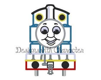 "Blue train front applique machine embroidery design- 3 sizes 4x4"", 5x7"", 6x10"""