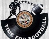 Football vinyl wall clock coach gift  birthday party ! NOT: photo booth props printables poster design applique aunt  shirt shirts stickers